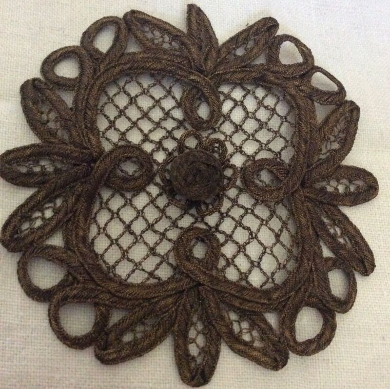ANTIQUE/VINTAGE FRENCH PASSEMENTERIE GILT THREAD APPLIQUE CIRCA:1920