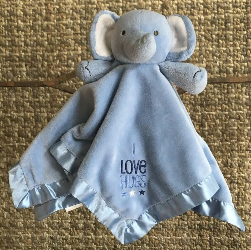 """Stepping Stones Baby Toddler Blue Elephant Lovey Security Blanket """"I Love Hugs"""""""