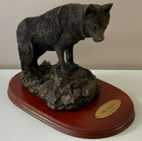 Rare Original The Lookout Living Stone 1995 Resin Wolf Figurine