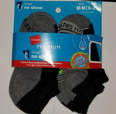 Socken Hanes Jungen M 9-2 Premium No-Show Grau 7 Paar Gepolsterte Sohle Whicking (Gepolsterte Socken No-show)