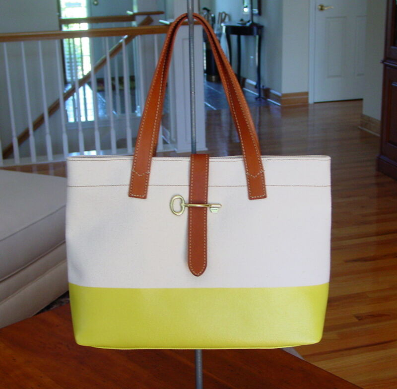 FOSSIL Coated Canvas Austin Shopper Tote in Natural & Citrus  NWT $148