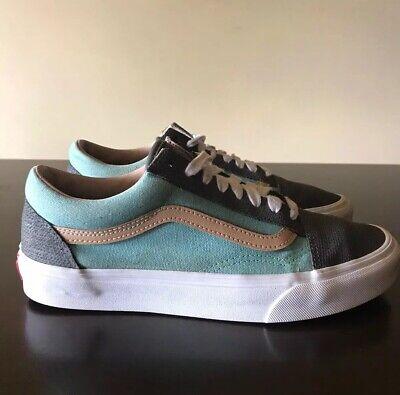 Vans Old Skool Navy Blue Grey Bright Blue Tan Stripe Women's Size 9.5 Men's 8