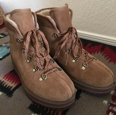 Used, UGG Women Size 7 Birch Lace Up Waterproof Chestnut Classic Wedge Hiking Boots for sale  Tacoma