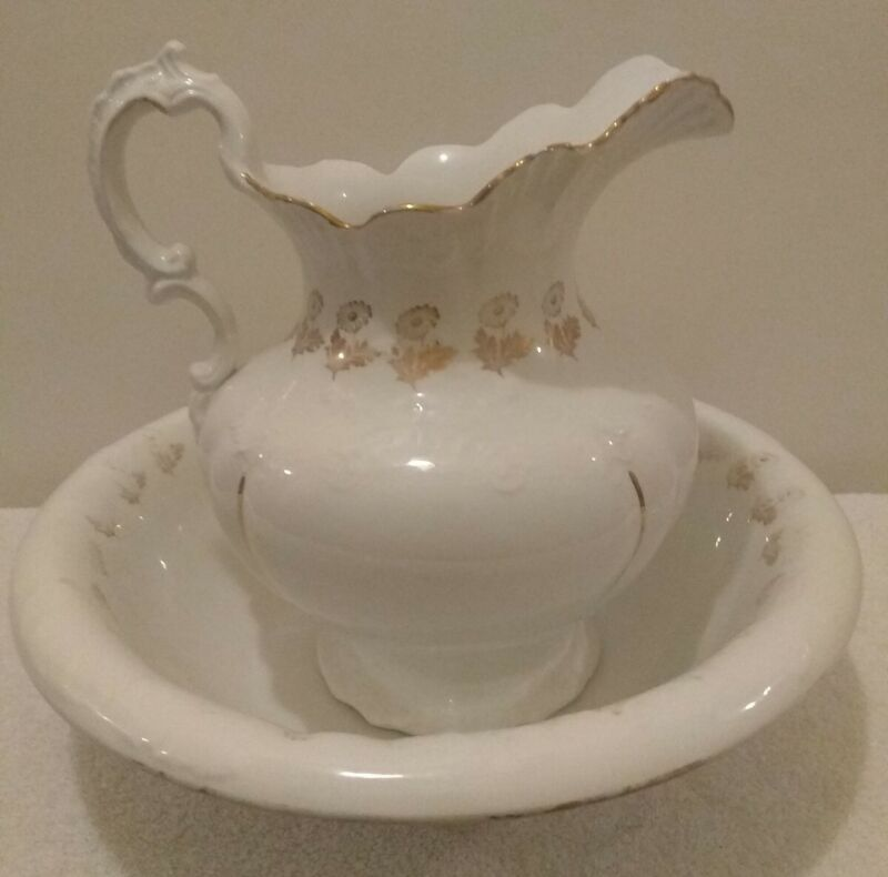 Homer Laughlin Antique Pitcher & Wash Bowl with Gold Trim