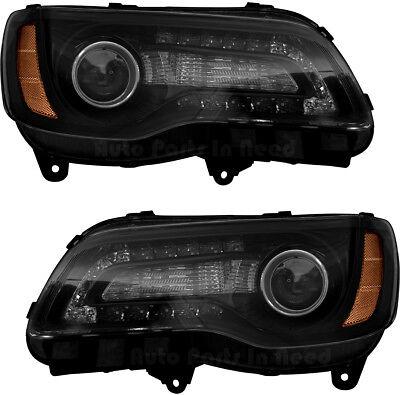 - Headlights Headlight Assembly (Black) NEW Pair Set for 2015-2017 Chrysler 300