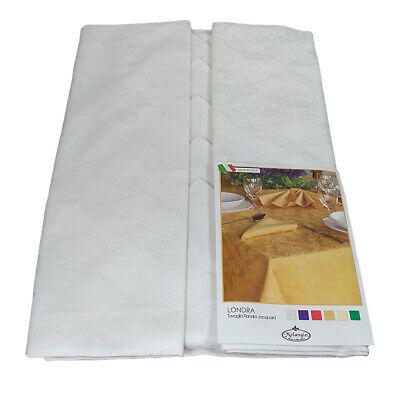 TOVAGLIA Rotonda per 8 posti con Tovaglioli cotone Fiandra Melangio 180 bianco