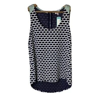 STITCH FIX PIXLEY Eileen Honeycomb Texture Knit Tank Navy Mint NWT Size Small Honeycomb Scoop Neck