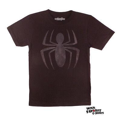 Spider-Man Black Costume Symbol Marvel Comics Licensed Adult T Shirt - Spider Man Costume T Shirt