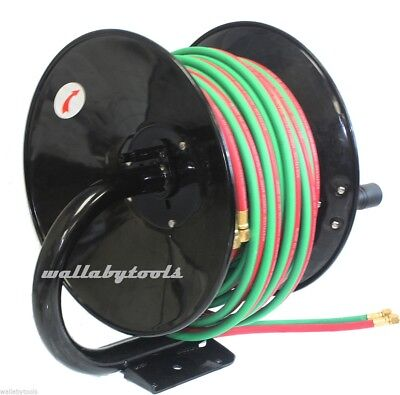 New Manual Hose Reel For 50ft Twin Oxy Acetylene Welding Hose 300psi 50