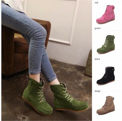 Womens Lady Leather   Snow Ankle Boots Winter Lace Up High Top Flat Shoes ()