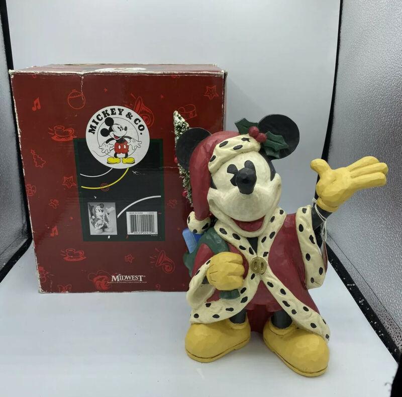 Vintage Disney Midwest Mickey Mouse Wood Figurine Santa Clause Christmas Tree