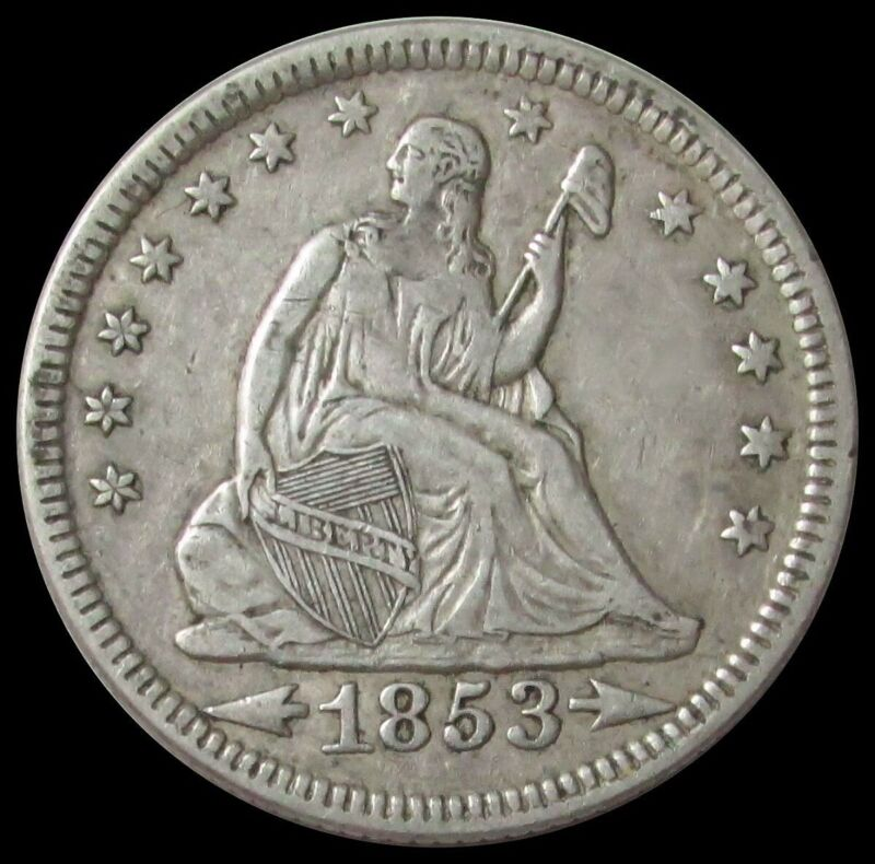 1853 ARROWS & RAYS SEATED LIBERTY QUARTER 25 CENT COIN EXTRA FINE