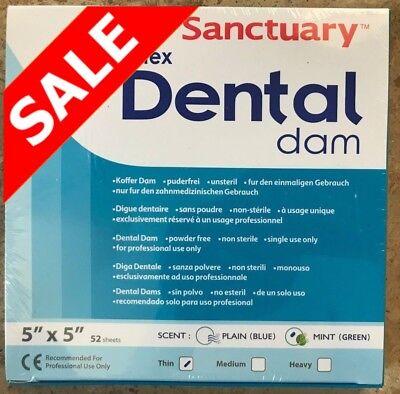 Sanctuary Dental Rubber Dam Latex 5x5 Thin Mint Sheet Green 52pk Good Quality