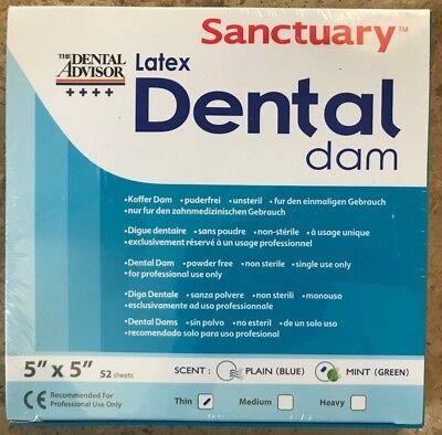Sanctuary Dental Rubber Dam Latex 5x5 Thin Mint Green 52pk Quality Guarantee