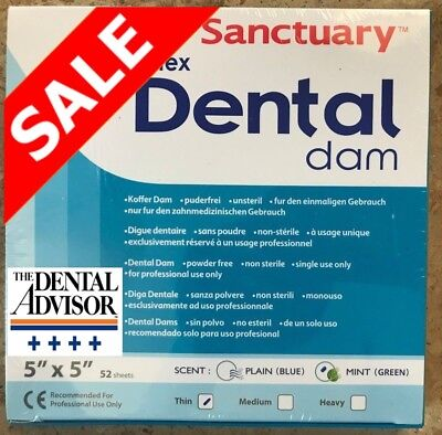 5 Box260 Pcs Sanctuary Dental Rubber Dam Latex 5x5 Thin Mint Green 52pk Sheets