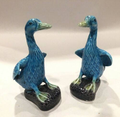 Pair Of Chinese Vintage Export Turquoise Porcelain Ducks