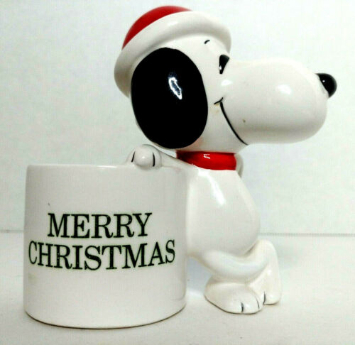 Vintage 1966 Merry Christmas Snoopy Ceramic Planter Made in Japan S1