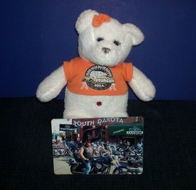 Official 2004 Sturgis Motorcycle Rally Magnet & Teddy Bear w/ Orange T Shirt