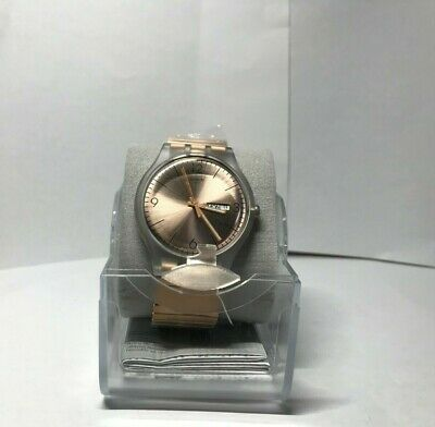 Swatch Original ROSTFREI Rose Gold Extension Day Date Watch 41mm  SUOK707A