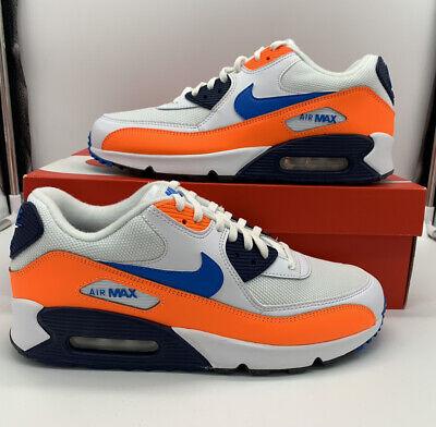 Nike Air Max 90 Essential White Blue Orange AJ1285-104 Running Shoes Men's NEW