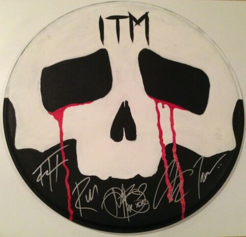 IN THIS MOMENT BAND SIGNED USED DRUMHEAD AUTOGRAPH MARIA BRINK ALL 5 ART ARTWORK