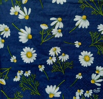 4 Lunch Paper Napkins for Decoupage Party Table Craft Vintage Daisy in Blue, Flo