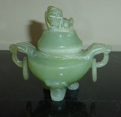 CHINESE CARVED JADE JADEITE FOO DOG TRIPOD COVERED BOWL OR SMALL INCENSE BURNER