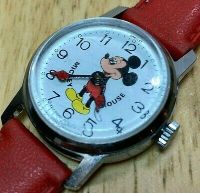 Vintage Disney Mickey Mouse By Bradley 29mm Hand-Winding Mechanical Watch Hours