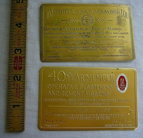 2 Vintage Operative Plasterers and Cement Masons Brass Member Cards 30 & 40 year