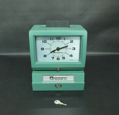 Acroprint Time Recorder Co. 125nr4 Industrial Manual Print With Key