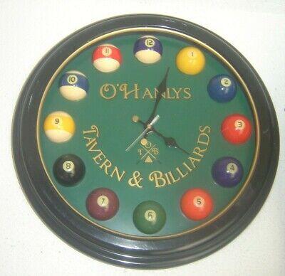 "O'Hanlys Tavern & Billiards 18"" Beer Bar Clock Sign Quartz Wall Movement Working"
