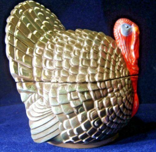 Vintage Hand Painted Ceramic 2 piece Turkey bowl/ candy dish