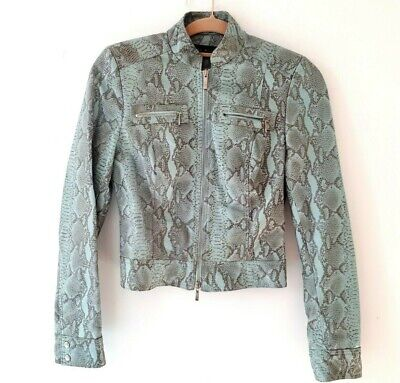 vintage KAREN MILLEN 90s 00s mint green snake print leather biker jacket UK8