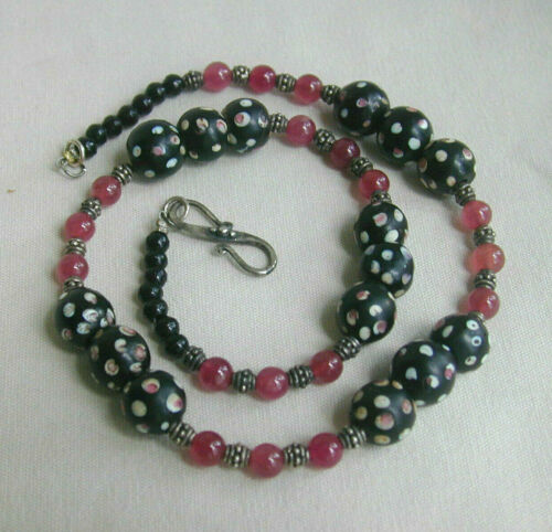 """Hand Crafted African Skunk Eye & Garnet Bead Necklace w/Sterling Silver - 20"""""""