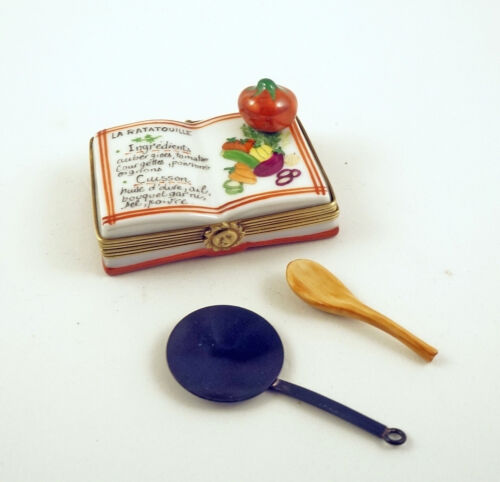 New French Limoges Box La Ratatouille Recipe Book with Removable Skillet & Spoon