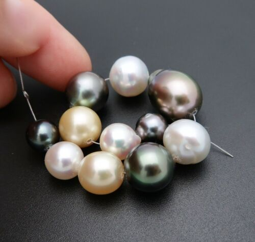 11 WILDLY STUNNING AA+ SOUTH SEA TAHITIAN JAPAN AKOYA CULTURED PEARLS 4.40""