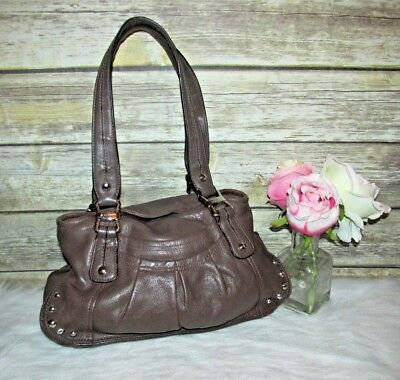 B. Makowsky Brown Glove Leather Flap Top Studded Purse Shoulder Bag Hobo Tote, used for sale  USA