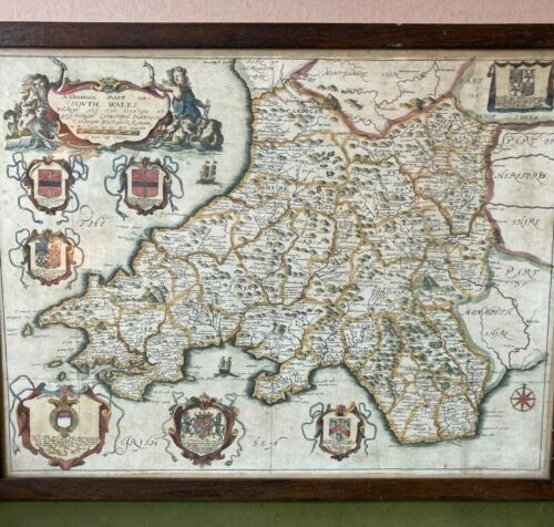Antique Map of SOUTH WALES by Richard BLOME 1673 - Hand Coloured Framed & Glazed