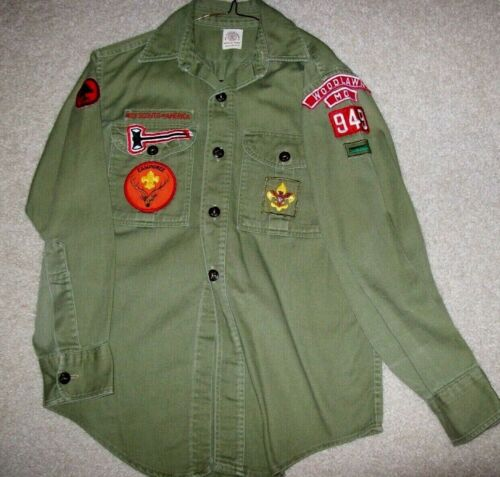 Vintage Olive BSA Boy Scout L/S Shirt with Patches Woodlawn Baltimore Area MD