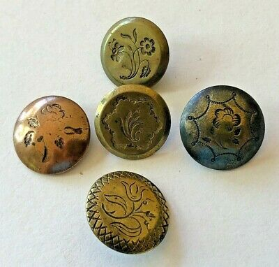 5 high quality old golden 18 mm high quality glass buttons