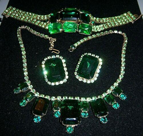 Vtg Shades Of Green Rhinestone Necklace Bracelet Earring Set Parure