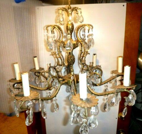 Vintage Ornate Antique 8 Arm 8 Light Glass Prisms Brass Spanish Chandelier