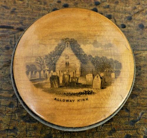 ANTIQUE 19TH C MAUCHLINE WARE Alloway Kirk R. BURNS Disc Pin Cushion SCOTLAND
