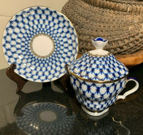 Lomonosov Cobalt Blue Net Lidded Cup & Saucer Russia Excellent - 4 Available