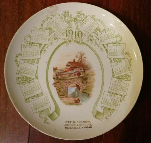 Antique  1910 CALENDAR PLATE WATERVILLE KANSAS NATIONAL CHINA CO WESTERN GEM