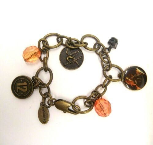 """THE HUNGER GAMES CHARM 7.5"""" BRACELET LIONSGATE BRASS TONED METAL PEACH BEADS 12"""