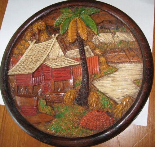 Vintage Painted Wood Carving (Thailand? Philippines?) Landscape, Village, Palm