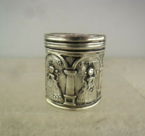 19th Century German Solid Silver Pill or Patch Box