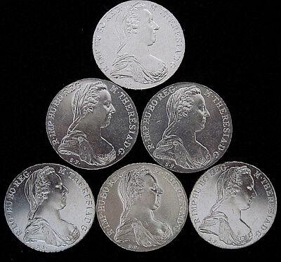 6 x Maria Theresia Taler Silbermünze, Münze, Theresientaler aus 833er Silber