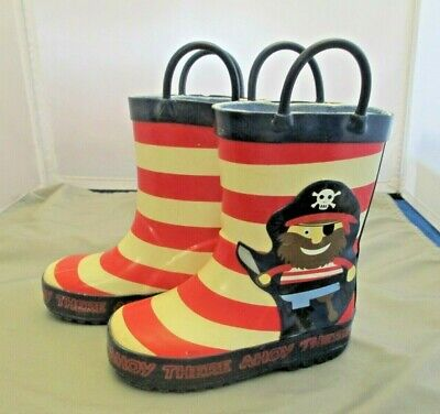 Pirate Rain Boots Toddler Childs Size 6 There Ahoy Red striped